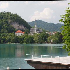 Bled church and rowing course
