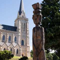 Bariloche church and sculpture